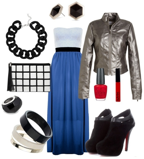 Blue Maxi Dress with Black & White Accessories