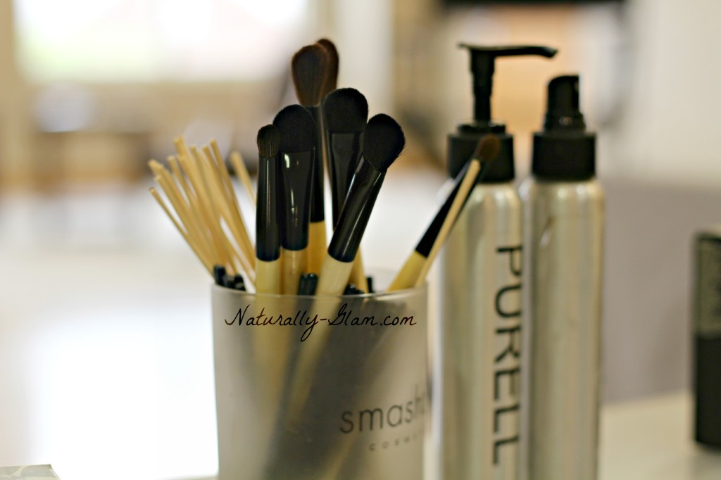 makeup brushes and supplies for the Smashbox cosmetics class