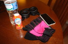 Crystal Light Low Calorie Drinks in Walmart Stores, gym essentials like headphones, iPhone and weight gloves