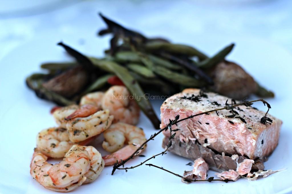 shrimp, salmon, roasted potatoes, green beans