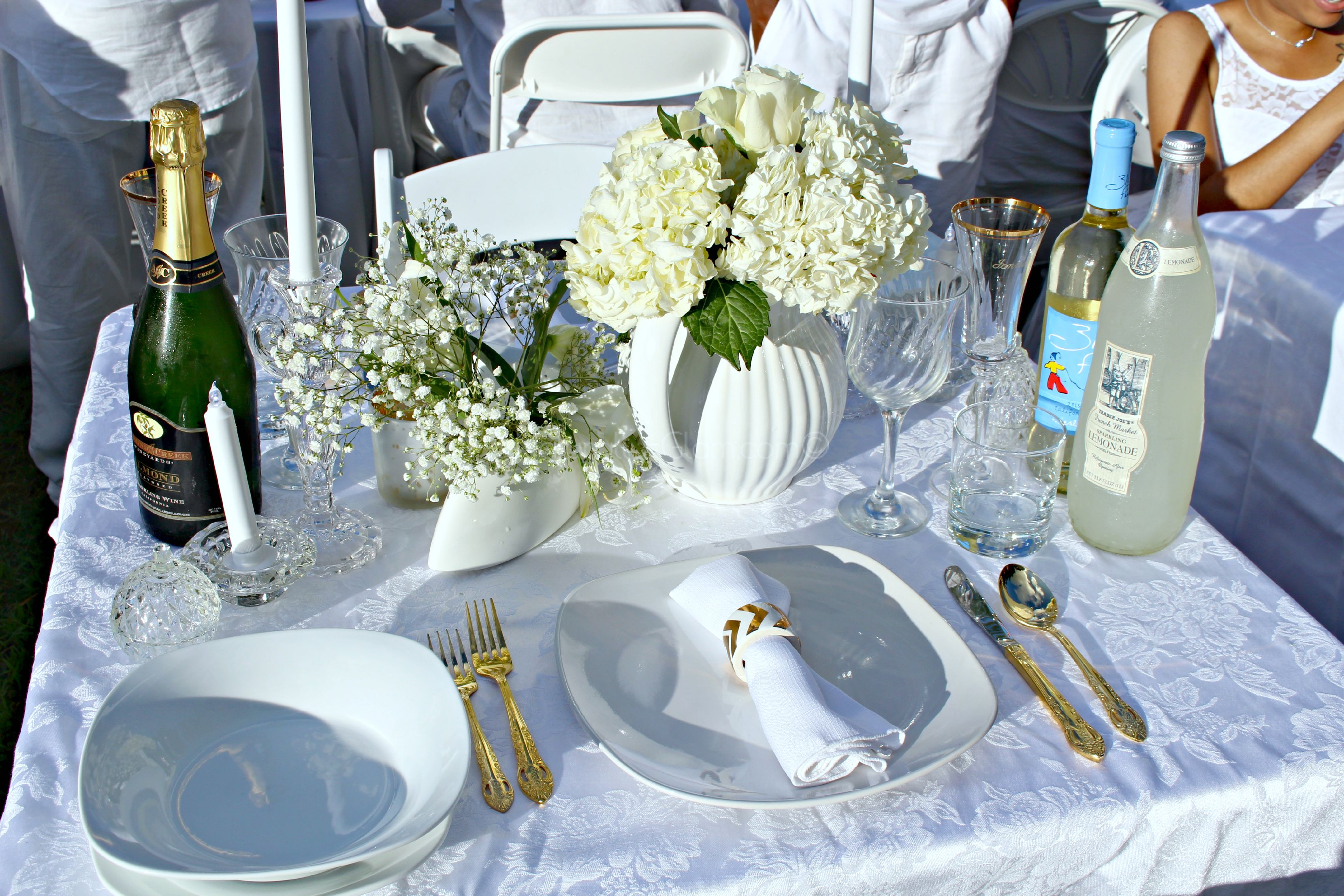 Table Setting For Two, White And Gold