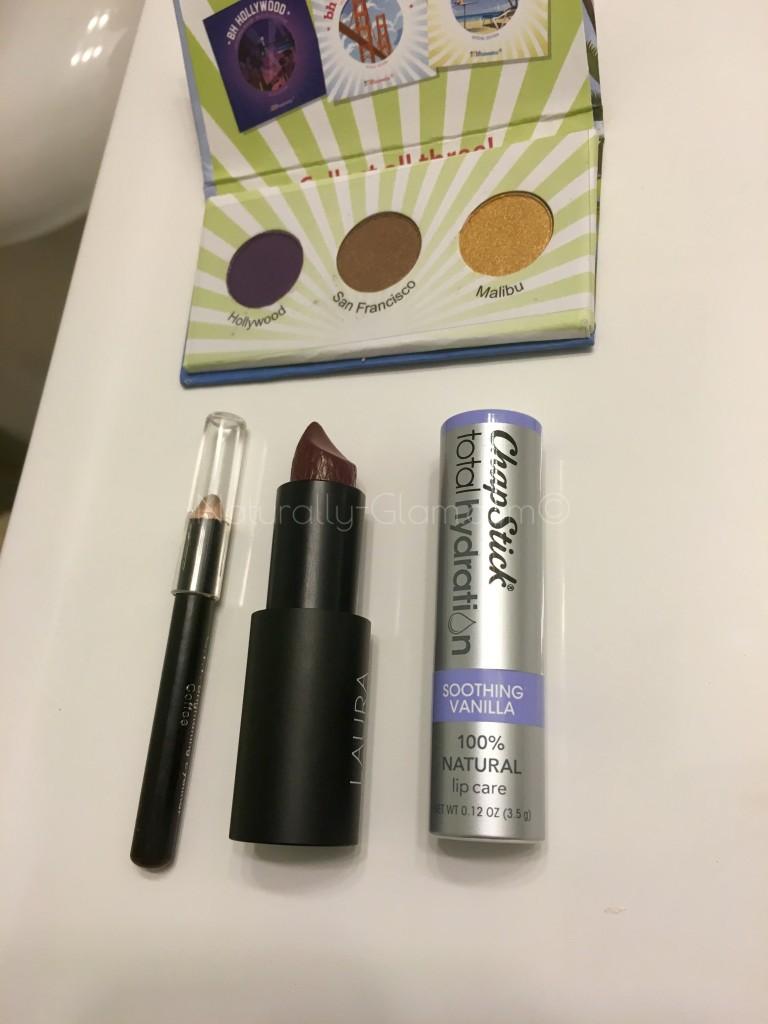 metallic eyeshadow, lipstick, chapstick total hydration, lip liner