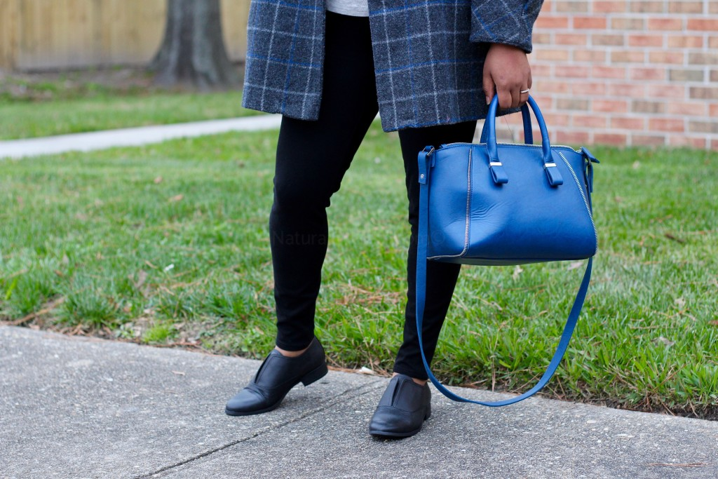 grey winter coat, royal blue satchel, oxfords