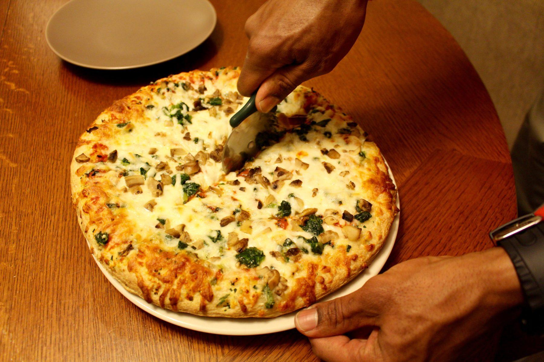 Digiorno spinach and mushroom pizza