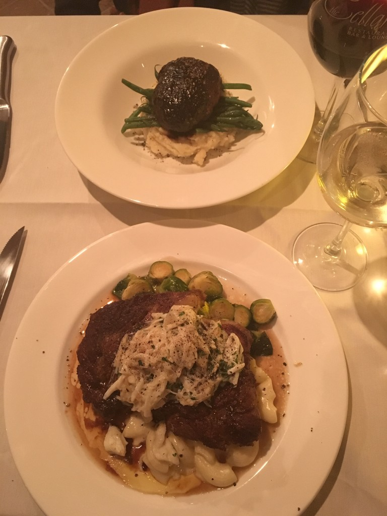 The Cellars restaurant, Virginia Beach, dinner entrees