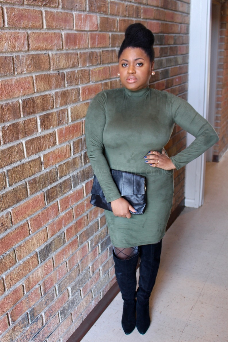 Naturally-Glam-Winter-Style-Suede-Dress-Over-the-Knee-Boots-Nicki-Minaj-Collection-Black-Clutch-Gold-Jewelry