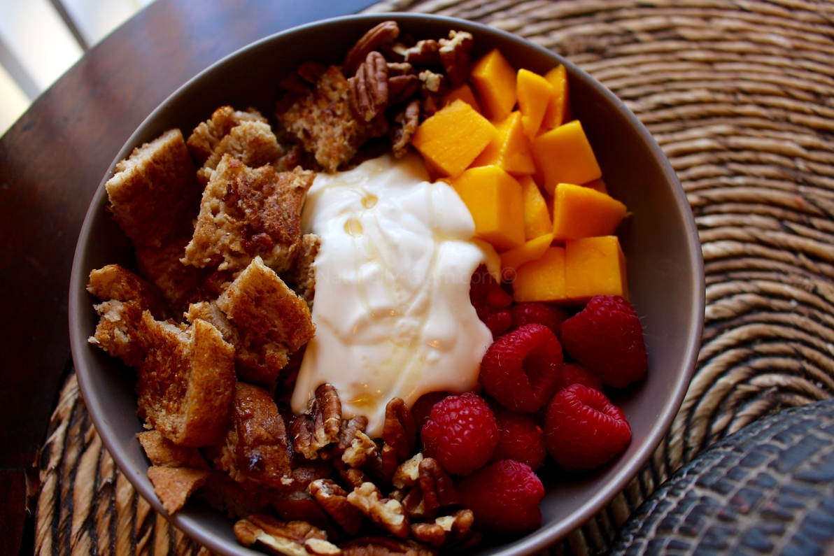 French Toast Bowl with fresh fruit and nuts