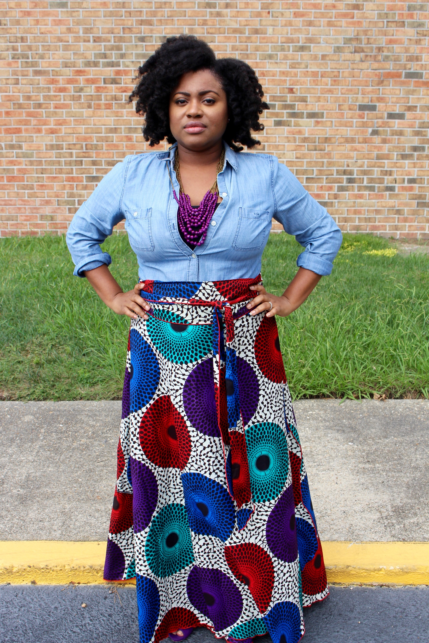 fall style, chambray shirt, African print wrap skirt