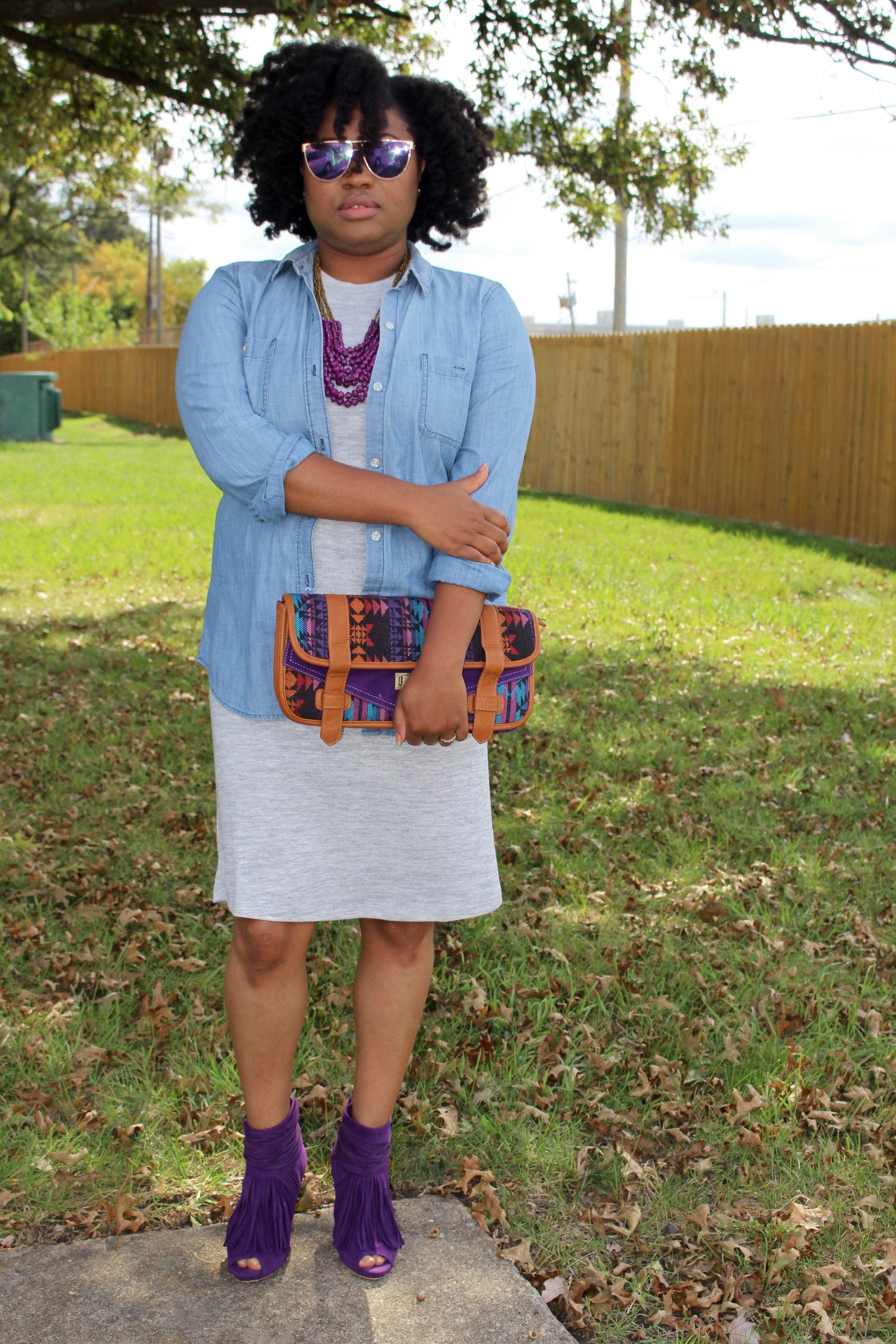 fall style, chambray shirt, sweater dress