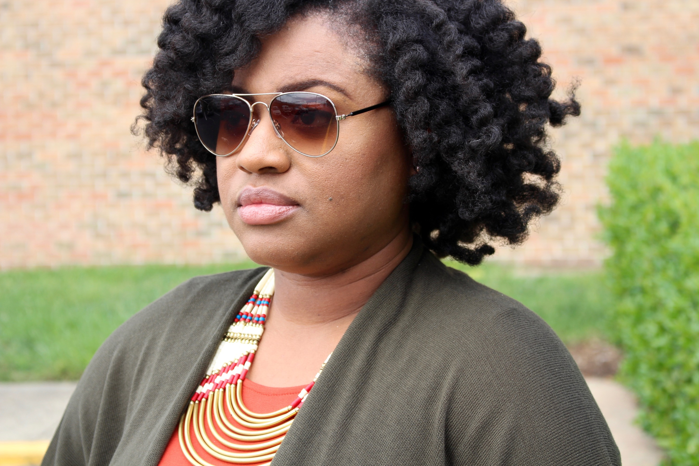 fall style, gold aviator glasses, olive green kimono jacket