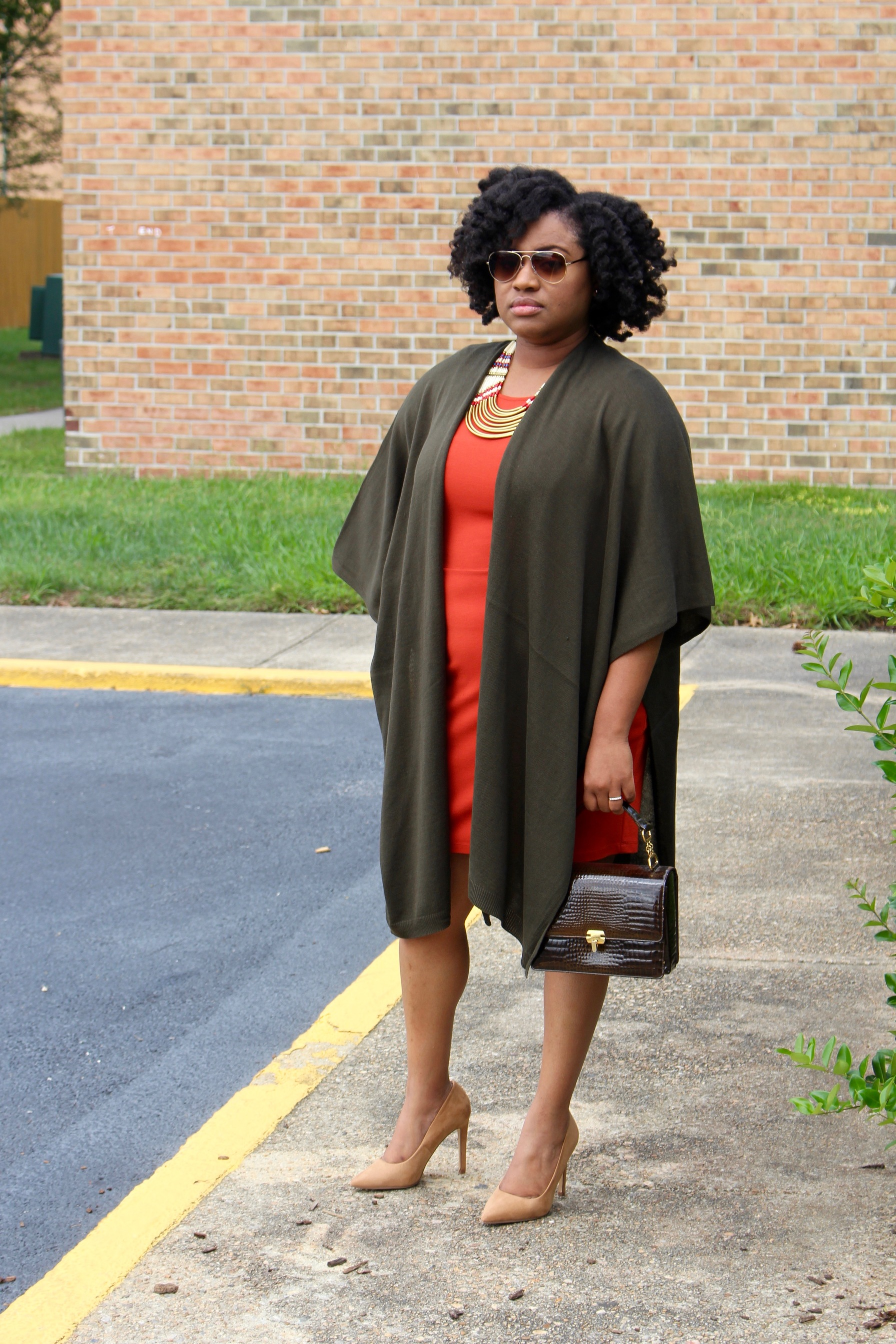 fall style, gold aviator glasses, olive green kimono jacket, red dress