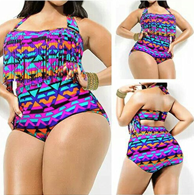 High Waist Two Piece Tassel Swimsuits