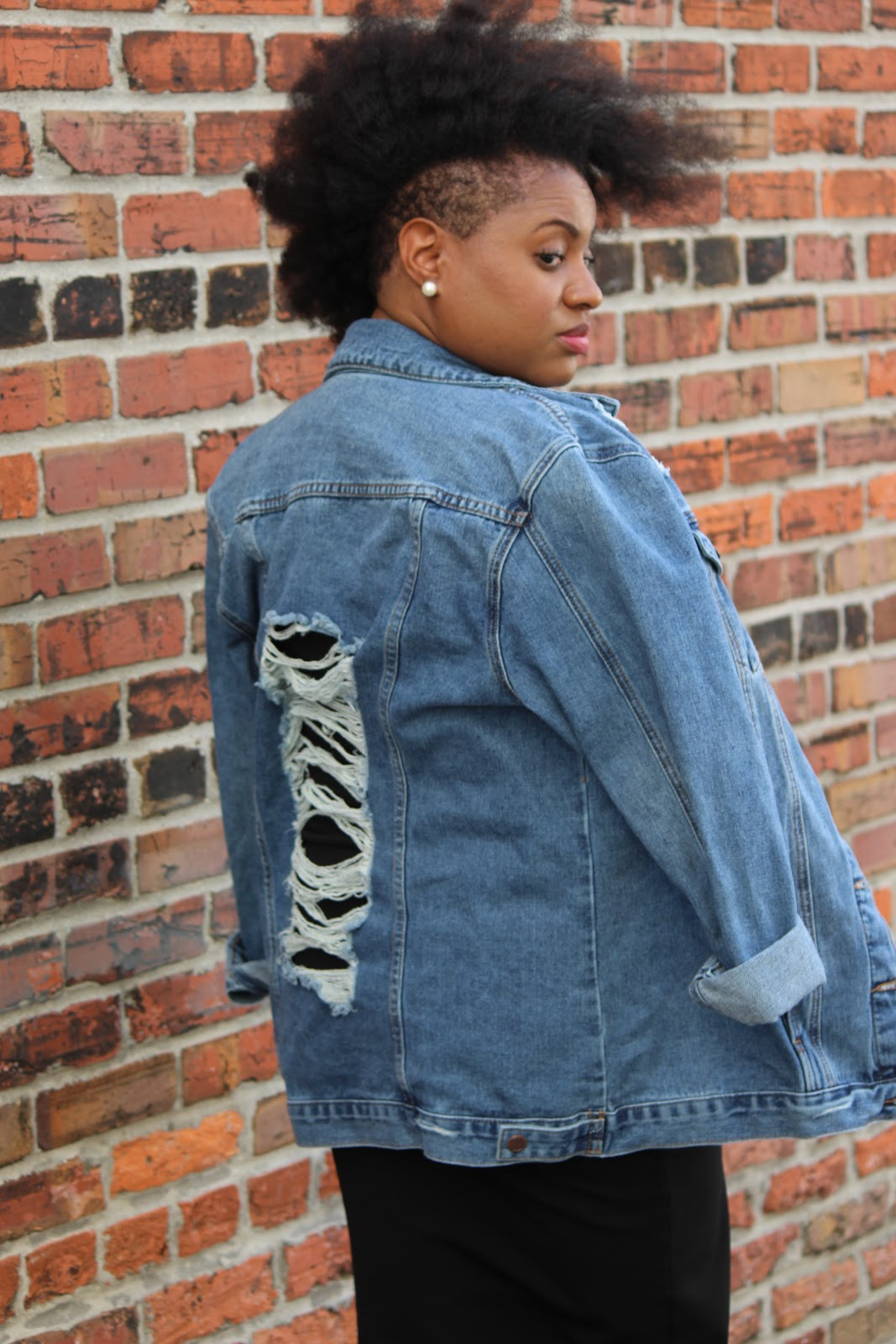 Ashley Stewart Ripped Boyfriend Denim Jacket