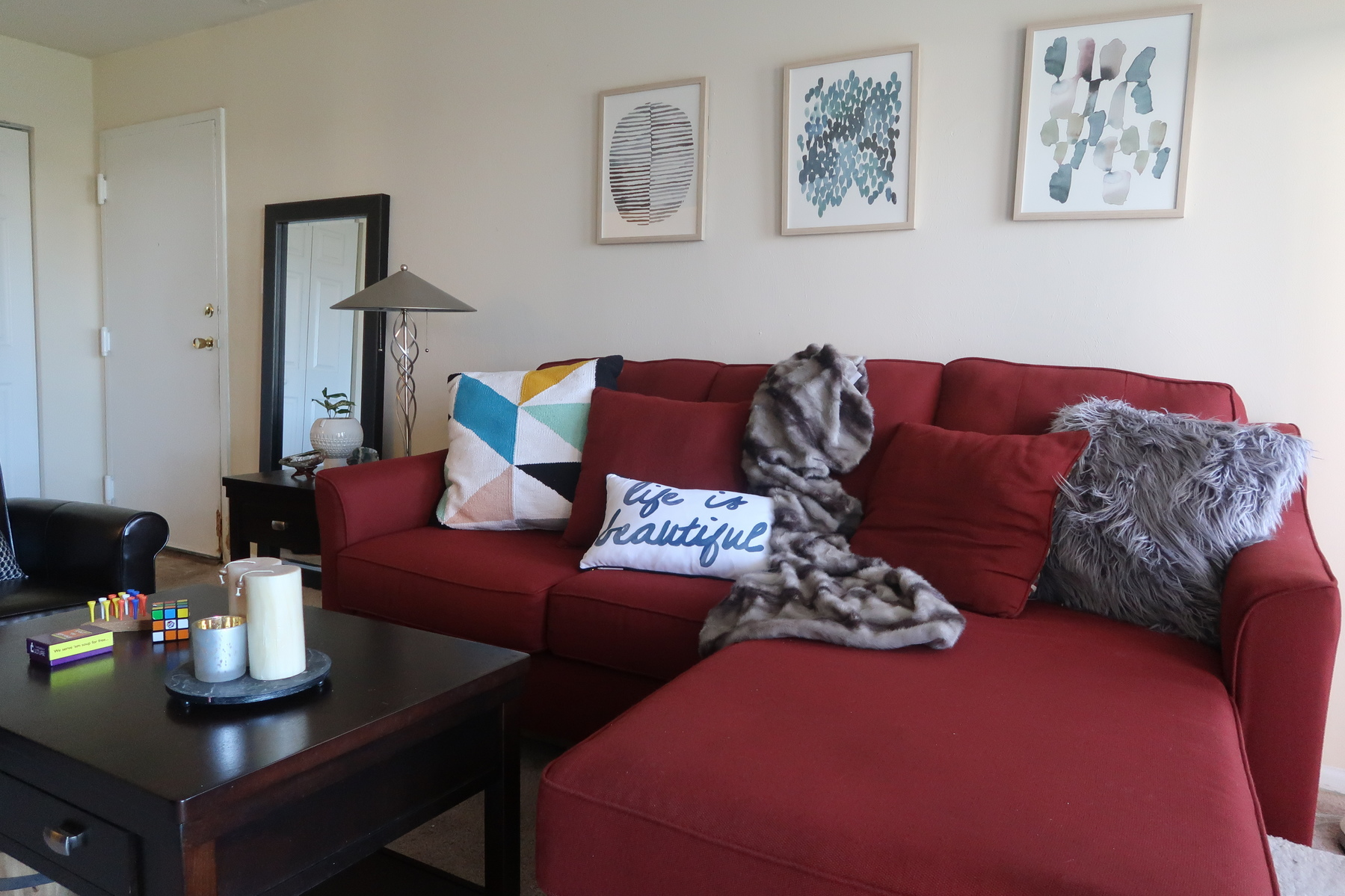 red couches living room 3 ways to work around a sofa when styling your living 12576